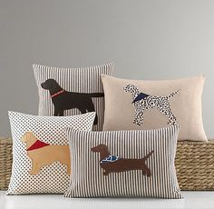 Applique Dog Pillow Cover c/o Restoration Hardware Baby & Child Applique Pillows, Sewing Pillows, Diy Pillows, Decorative Pillows, Throw Pillows, Dog Cushions, Dog Throw, Shirt Pillows, Cushions To Make