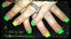 Lime green and neon yellow glitter tips on acrylic by Cheri