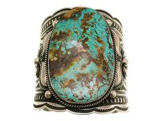 Andy Cadman, Large Bracelet, Pilot Mountain Turquoise, Navajo, Silver #PerryNullTradingCompany