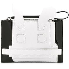 McQ Alexander McQueen Electro Bunny Clutch (€260) ❤ liked on Polyvore featuring bags, handbags, clutches, white handbags, embossed purse, white patent leather handbag, two tone purse and white patent leather purse