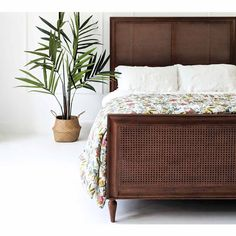 Buy the beautifully designed Rafferty Rich Rattan Low Footboard Bed, by The French Bedroom Company. Rattan Bed Frame, Rattan Headboard, Wood Bedroom, Bedroom Decor, Large Bedroom, Master Bedroom, Small Bedrooms, Bedroom Ideas, Dark Wood Bed Frame
