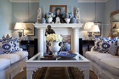 Blue and white living room in the San Francisco home of retail executives Dave DeMattei and Patrick Wade Blue Rooms, White Rooms, Delft, Living Area, Living Spaces, Living Rooms, Blue And White Living Room, Blue And White China, Blue China