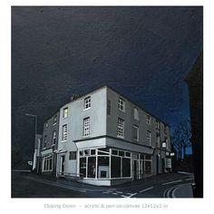 Closing Down - acrylic & pen on canvas 12x12x2 in By Deborah Batt