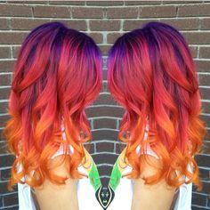 rainbow sunset hair - New Hair Beautiful Hair Color, Cool Hair Color, Hair Colors, Fire Hair Color, Vivid Hair Color, Sunset Hair, Bright Hair, Mermaid Hair, Pretty Hairstyles
