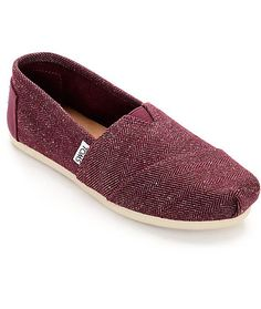 A lightweight and comfortable design, the Toms Classic Herringbone Burgundy…