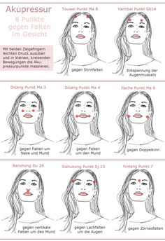 Acupressure face against wrinkles dots image acupressure points instructions - Anti aging - Hautpflege Yoga Facial, Face Yoga, Beauty Make Up, Hair Beauty, Beauty Secrets, Beauty Hacks, Belleza Diy, Les Rides, Acupressure Points