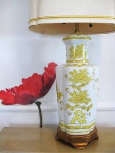 60s Yellow Hollywood Regency Chinoiserie Lamp