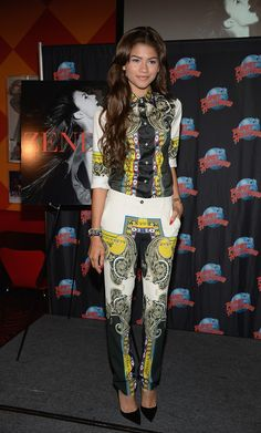 Zendaya Coleman showed us how to do the match-matchy look right with her paisley-print pants and button-down combo during her CD and book release event.