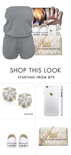 """summertime fine"" by yeauxbriana ❤ liked on Polyvore featuring JUST DON, Auriya, Converse and Michael Kors"