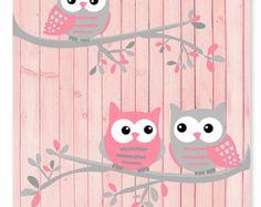Buho vivero arte, rosados y gris buhos, buhos en ramas, decoración de habitación…