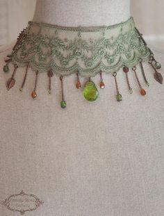 Lace Chocker  Green olive Choker  Victorian choker