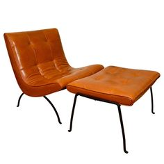 Milo Baughman Slipper Chair and ottoman, leather and iron.