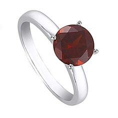 2 Ct Round Cut January Birthstone Garnet Sterling Silver Solitaire Ring # Free Stud Earrings by JewelryHub on Opensky