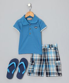 Take a look at this Blue Polo Set - Toddler & Boys by Kids Headquarters on #zulily today!