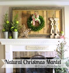 Natural Christmas-Mantel Round Up / athomewiththebarkers.com