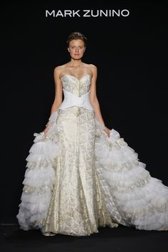 Style 159 white & gold dress with overskirt by Mark Zunino   NY Bridal Week. Photo: Courtesy of Mark Zunino for Kleinfeld. Read More: http://www.insideweddings.com/news/fashion/celebrate-individuality-with-mark-zunino-for-kleinfeld-2016/2548/