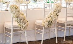Lush All-White Garlands for the Bride & Groom Chairs | Hydrangea, Rose and Peonies | Nantucket Wedding at the White Elephant Hotel by Soiree Floral (www.soireefloral.com) #soireefloral #nantucket