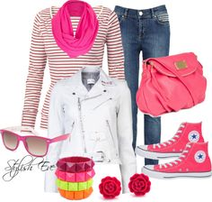 """Pink and Leather Casual"" by stylisheve on Polyvore"