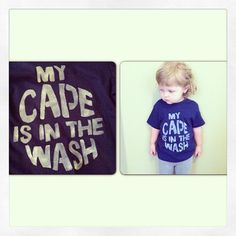 My Cape is in the Wash toddler superhero t shirt hand stenciled made to order sizes 12M to 5T