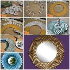 DIY Scoop Mirror with Plastic Spoons - Diy mirror Plastic Spoon Mirror, Plastic Spoon Crafts, Plastic Spoons, Mirror Crafts, Diy Mirror, Sunburst Mirror, Bathroom Mirrors, Wall Mirrors, Mirror Ideas