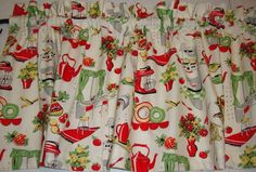 Retro Fifties Appliances Kitchen Valance Custom Made Michael Miller Fabric #Custom