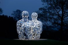 'spiegal' by jaume plensa at the yorkshire sculpture park in wakefield, england