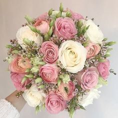 Peach, ivory and dusty pink bouquet