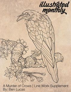 Flower Drawing A Murder of Crows Line Supplement - 40 pages of lined crow illustrations by Ben Lucas. All images in this book are under copyright and can not be reproduced or sold as your own. Crow Art, Raven Art, Bird Art, Tattoo Sketches, Tattoo Drawings, Drawing Sketches, Art Drawings, Tatoo Symbol, Tattoo P
