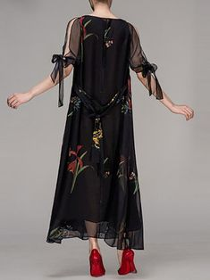 Black Crew Neck Floral Elegant Maxi Dress