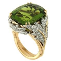 Cushion Peridot Diamond Gold Leaf Ring