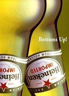 """""""Bottoms up"""" Heinekin (heinie) ad design #hilarious #graphicdesign #photography"""