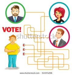 Vector Maze Game: Help for Man to Vote for the New President. Funny Vector Illustration