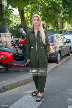 Fashion Features Director at British Vogue Sarah Harris wears a Green jumpsuit on day 3 of Paris Haute Couture Fashion Week Autumn/Winter 2016, on July 5, 2016 in Paris, France.