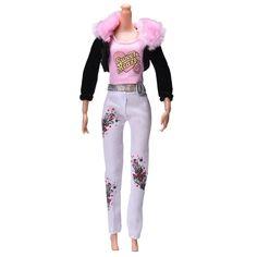 """3 Pcs/Set Dolls Accessories Fur Collar Coat Fashion Suit For Barbie 11"""" Dolls Pink Vest Black Coat"""