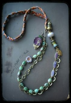 Long bohemian artisan necklace by Brass Rabbit Studio @ www.brassrabbitstudio.com