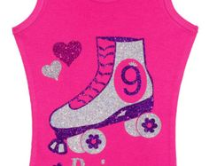 Girls 8th Birthday Party Roller Skate Tank Top by BubbleGumDivas