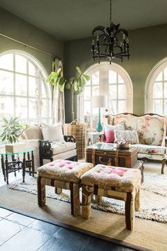 I like the small couches ~ Brittany Cobb's Bohemian 'Texas-Chic' Home