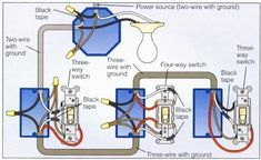 4 way switch wiring diagram recipes pinterest diagram light rh pinterest com 3-Way Switch Multiple Lights Wiring-Diagram 3 and 4 Way Switches