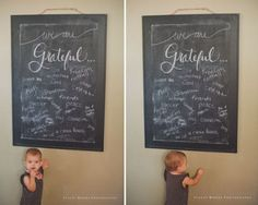 Gratitude chalkboard for sharing family thankfulness. I'm erasing our fall list and starting this now!