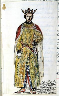 Queen Victoria's Drawings : Prince Albert in Bal Costumé outfit: pen and ink sketch with watercolor by Queen Victoria, Thursday 12th May 1842