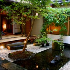 A garden landscape in a small space. More