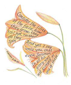 Scripture Art Lilies Inspirational Bible Verse Print on Etsy, $12.00