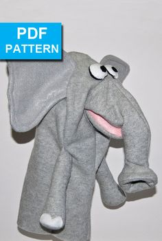 Elephant Hand Puppet with Move-able Mouth by TheTucsonPuppetLady.  In just a couple of hours you can create your own elephant puppet that has real character.  With our detailed sewing instructions and video tutorials, someone with basic sewing skills can create this cutie.  The only materials required are fleece, foam and felt.  Pattern sized for older kids or adults hands.  Pattern available only at https://www.etsy.com/shop/TheTucsonPuppetLady  www.TheTucsonPuppetLady.com