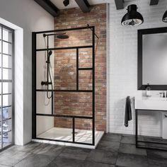 Sub Walk In Black Cube 120 x 200 cm, matzwart profiel Industrial Bathroom, Bathroom Interior, Modern Bathroom, Small Bathroom, Tile Bathrooms, Diy Bathroom, Bad Inspiration, Bathroom Inspiration, Walk In Shower Screens