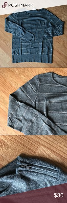 Loft Gray Striped Sweater The smaller stripes are a sparkly silver. This is not a very thick sweater. LOFT Sweaters