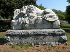 THE LION OF ATLANTA in historic Oakland Cemetery marks the final resting place of 3000 unknown Confederate soldiers. Atlanta Condo, Atlanta Midtown, Atlanta Skyline, Old Cemeteries, Graveyards, Oakland Cemetery, Lion Pictures, Magnolia Trees