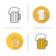 Glass of beer icons. Vector by bsd art factory on @creativework247
