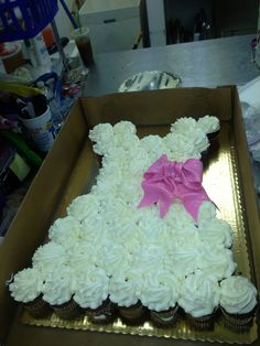 Cute wedding dress cupcake cake-- engagement party Made by me