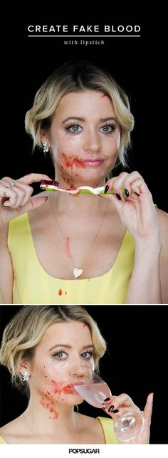 "Here's how to put a spin on a ho-hum Halloween costume: add some gore to it.   Mix a cut of old lipstick with black eyeliner so it's a deep shade of burgundy. Then mix it with a little bit of dish soap to give it the consistency of blood. From here, take an old toothbrush or makeup brush, dip it into the ""blood,"" and splatter it all over the side of your face and neck. Just be sure to do this before you put on your dress!"