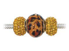 Zable Sterling Silver Leopard Print Trio Bead Set (Bracelet not included)